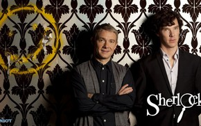 Картинка стена, обои, Шерлок Холмс, смайлик, Мартин Фриман, Бенедикт Камбербэтч, Sherlock, Sherlock BBC, Sherlock Holmes, Джон …
