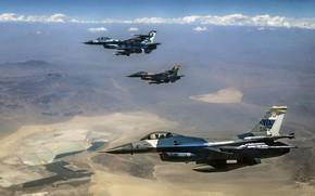 Картинка F-16, Fighting Falcon, General Dynamics, многоцелевой истребитель четвёртого поколения, американский многофункциональный лёгкий, 64th Aggressor Squadron