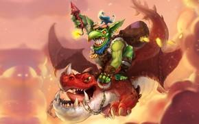 Картинка дракон, фэнтези, арт, полёт, гоблин, Goblin, A-YOUN KIM