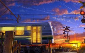 Картинка провода, поезд, электричка, иероглифы, восход солнца, шлагбаум, переезд, свет в окнах, синее небо, розовые облака, …