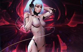 Картинка Девушка, Взгляд, Блондинка, Стиль, Girl, Арт, Beautiful, Sexy, Art, Music, Красотка, Style, Фантастика, Beauty, Neon, …