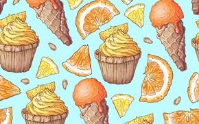 Картинка фон, текстура, мороженое, десерт, кексы