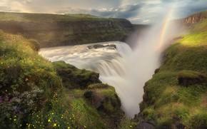 Картинка пейзаж, горы, природа, водопад, радуга, расщелина, Исландия, Михалюк Сергей