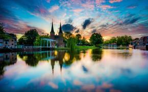 Обои небо, солнце, облака, деревья, закат, река, дома, Нидерланды, Delft