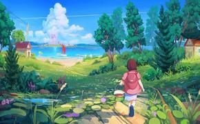 Картинка пейзаж, девочка, ребёнок