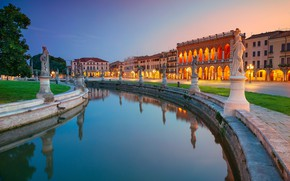 Картинка отражение, здания, дома, Италия, канал, статуи, Italy, Падуя, Padova, Prato della Valle, Площадь Прато-делла-Валле