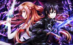 Картинка аниме, арт, персонажи, Мастера меча онлайн, Sword Art Online, Асуна, Кирито