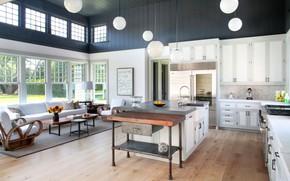 Картинка дизайн, интерьер, кухня, гостиная