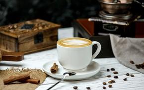 Картинка кофе, чашка, Напиток, пряности, Капучино, Корица, Аромат, Kamran Aydinov