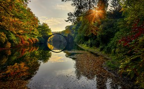 Картинка осень, солнце, мост, река, Germany, The Devils Bridge