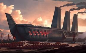 Картинка закат, корабль, Legends of Runeterra