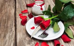 Картинка любовь, цветы, розы, сердечки, красные, red, love, wood, flowers, romantic, hearts, valentine's day, roses