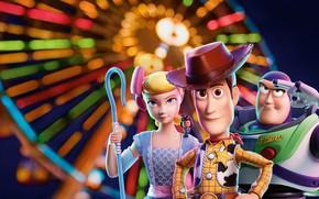 Картинка фон, мультфильм, постер, персонажи, Toy Story 4, История игрушек 4