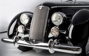 Картинка Кабриолет, Бампер, Фары, Classic, Lancia, Хром, Classic car, Значок, 1936, Радиаторная Решетка, Lancia Astura Cabriolet …