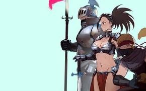 Картинка girl, sword, armor, anime, weapons, digital art, warrior, fantasy art, knight, helmet, spear, simple background, …