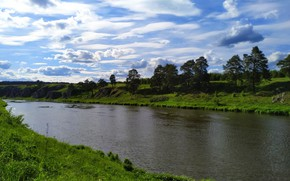 Картинка лес, трава, облака, свет, деревья, река