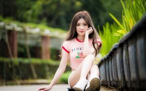 Картинка взгляд, девушка, волосы, азиатка, милашка