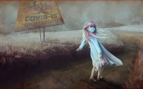 Картинка маска, вирус, малышка, карантин, опасная зона, unicorn, брызги крови, изоляция, дорога в даль, единорг, covid-19