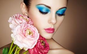Картинка девушка, цветы, лицо, макияж, Oleg Gekman