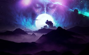 Картинка moon, sky, digital, landscape, mountains, clouds, stars, face, galaxy
