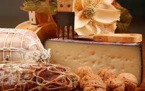 Картинка цветок, сыр, орехи