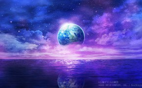 Картинка вода, космос, фантастика, планета, Земля, Touhou Project, Проект Восток