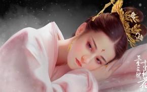 Картинка Девушка, Рисунок, Лицо, Азиатка, Girl, Арт, Beautiful, Art, Asian, Красивая, Face, by Hongfa Yin, Hongfa …