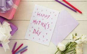 Картинка подарки, конверт, поздравление, открытка, День Матери