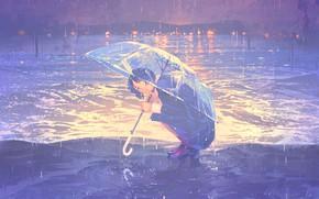 Картинка море, девушка, дождь, зонт