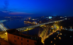 Картинка ночь, мост, огни, река, дома, панорама, Португалия, Порту