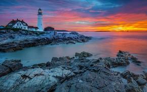 Картинка море, дом, фото, маяк, portland, cape-elizabeth, кейп-элизабет