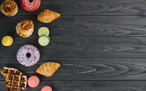 Картинка пончики, выпечка, cupcake, кексы, donut, macaroons, croissants