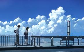 Картинка море, лето, девушка, парень, остановка