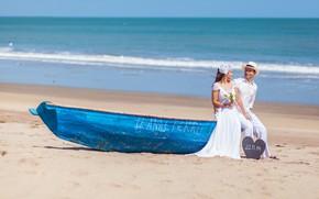 Картинка песок, лодка, пара, невеста, жених