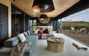 Картинка интерьер, кухня, терраса, гостиная, столовая, Mountain Cottage
