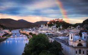 Картинка пейзаж, горы, город, река, здания, дома, радуга, Австрия, мосты, Зальцбург, Fabian Vogl