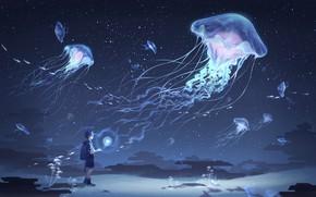 Картинка небо, мальчик, медузы