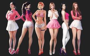 Картинка Девушки, Рисунок, Арт, Concept Art, Азиатки, J.Won Han, berry good, by J.Won Han