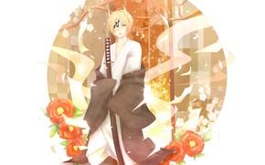 Картинка цветы, меч, парень, юката, Natsume Yuujinchou, Тетрадь дружбы Натсуме, Натсуме