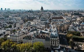Картинка дорога, небо, солнце, облака, деревья, машины, Франция, Париж, дома, Paris, вид сверху, улицы, France