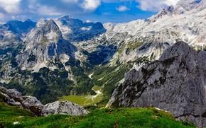 Картинка небо, облака, деревья, горы, природа, скалы, Словения