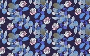 Картинка листья, цветы, синий, фон, розовый, узор, розы, бутоны