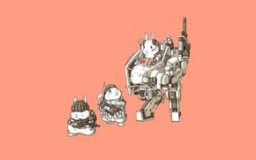 Картинка Art, Guns, Weapon, Minimalism, Characters, Bunny, Rabbits, Transport & Vehicles, Ren Wei Pan, Bunnys, Mechanical …