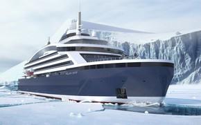 Картинка Океан, Море, Лайнер, Судно, Рендеринг, Пассажирское судно, Cruise Ship, Passenger Ship, Cruise Line, Passenger Vessel, …