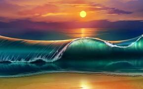 Картинка waves, beach, sky, sea, nature, Sun, sunset, art, clouds, digital art, artwork, painting art