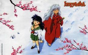 Картинка снег, ветки, следы, школьница, art, босоногий, смотрит вверх, матроска, красный костюм, Inuyasha, Инуяша, Rumiko Takahasi, …