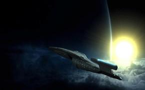 Картинка космос, корабль, планета, Star Trek, Voyager Image