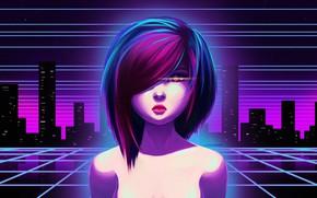 Картинка Девушка, Ночь, Музыка, Город, Неон, Фон, 80s, 80's, Synth, Retrowave, Synthwave, New Retro Wave, Futuresynth, …