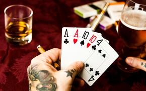 Картинка карты, виски, казино