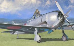 Картинка art, airplane, aviation, ww2, ki-44